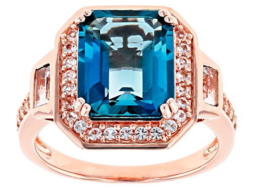 Photo of 4.62CT EMERALD CUT LONDON BLUE TOPAZ WITH .54CTW WHITE TOPAZ 18K ROSE GOLD OVER SILVER RING - Size 7