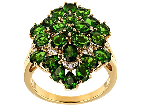 Photo of 3.34CTW MIXED SHAPES RUSSIAN CHROME DIOPSIDE WITH .16CTW WHITE ZIRCON 18K  GOLD OVER SILVER RING - Size 7