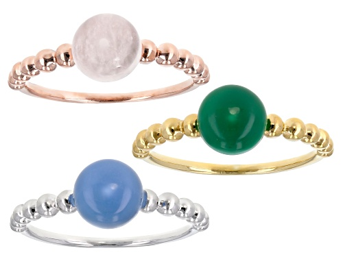 Photo of 7mm Round Chalcedony, Rose Quartz & Green Onyx Rhodium, 18k Rose & Yellow Gold Stackable 3 Ring Set - Size 8