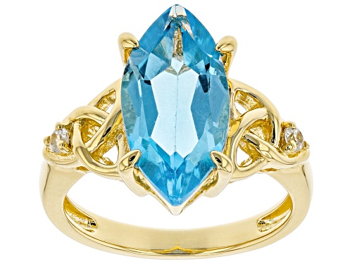 Photo of 4.50ct Marquise Swiss Blue Topaz & .08ctw Round White Zircon 18k Gold Over Silver Celtic Detail Ring - Size 7