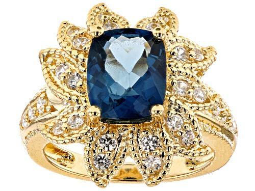 Photo of 3.40ct Rectangular Cushion London Blue Topaz & .78ctw Round White Zircon 18k Gold Over Silver Ring - Size 7