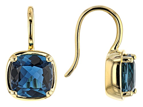 Photo of 4.70ctw Square Cushion London Blue Topaz 18k Yellow Gold Over Silver Solitaire Dangle Earrings