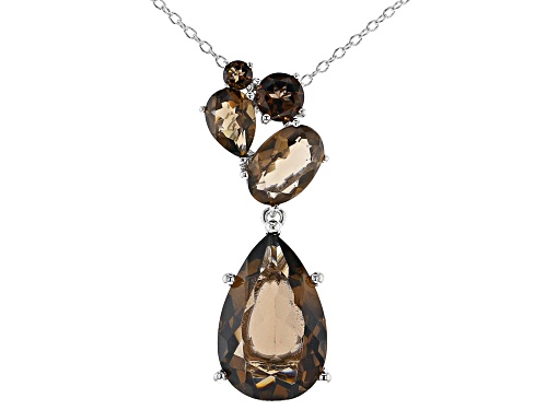 Photo of 9.03CTW PEAR SHAPE, OVAL & ROUND SMOKY QUARTZ RHODIUM OVER SILVER TEARDROP DANGLE PENDANT W/CHAIN