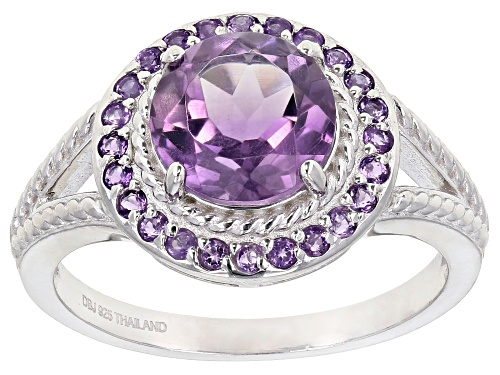 Photo of 1.76ct 8mm and .24ctw 1.25mm round amethyst rhodium over sterling silver ring - Size 7