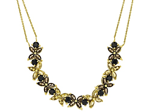 Photo of 2.40ctw smoky quartz, 2.24ctw citrine and 3.10ctw black spinel, 18K yellow gold over silver necklace - Size 16