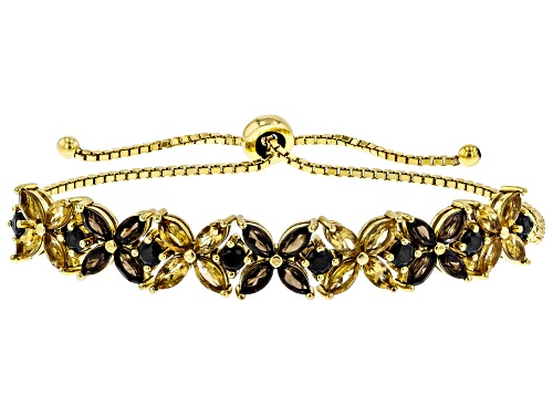 "Photo of 4.64ctw smoky quartz, citrine & black spinel 18K yellow gold over silver bolo bracelet adjusts 6""-9"""
