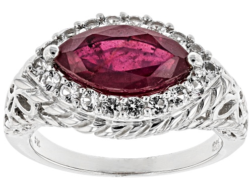 Photo of 1.88ct Marquise Mahaleo(R) Ruby With .43ctw Round White Topaz Rhodium Over Silver Ring - Size 7