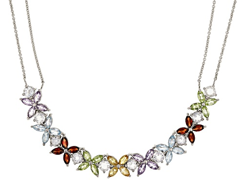 Photo of 4.92ctw marquise multi-gemstone and 2.60ctw round white topaz rhodium over sterling silver necklace - Size 16