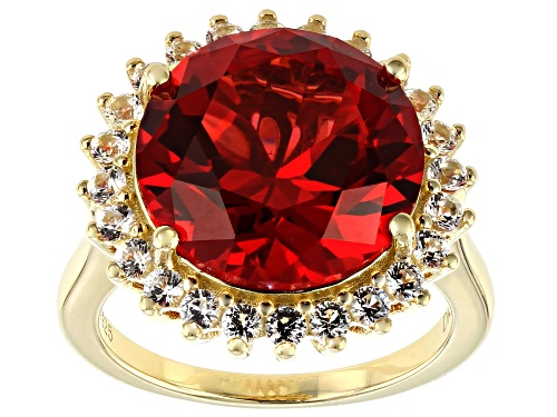 Photo of 11.05ct Lab Created Padparadshca Sapphire & 1.02ctw Lab Created Sapphire 18k Gold Over Silver Ring - Size 8
