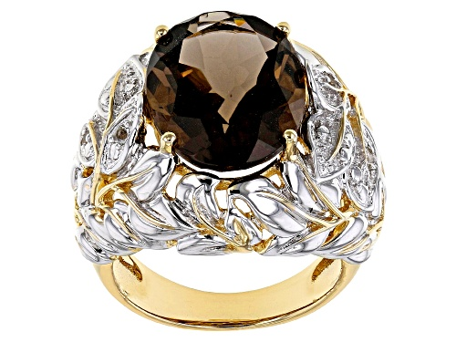 Photo of 8.26ct oval smoky quartz with .06ctw round white topaz 18k gold& rhodium over silver two-tone ring - Size 8