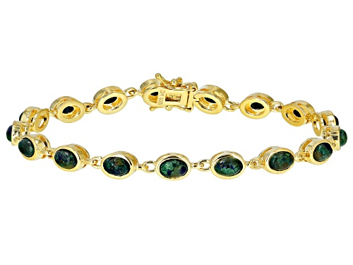 Photo of 6x4mm Oval Cabochon Azurmalachite 18k Yellow Gold Over Silver Tennis Bracelet - Size 8