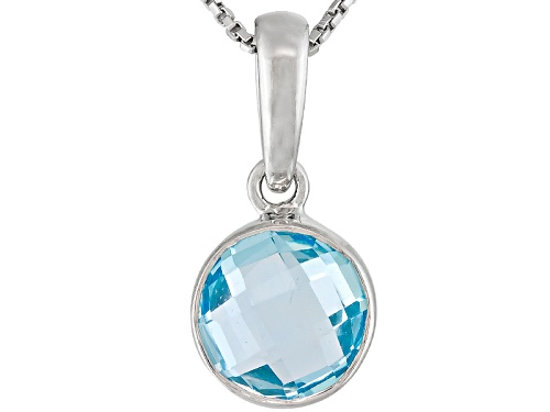Photo of Glacier Topaz ™ 1.85ct Round Checkerboard Sterling Silver Pendant With Chain
