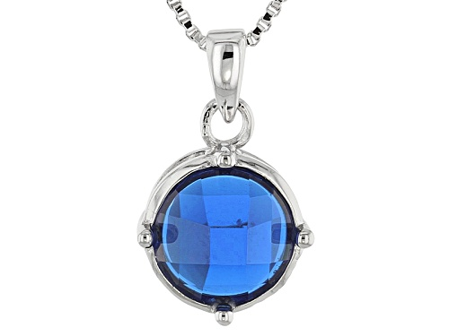 Photo of 1.27ct Round Lab Created Blue Spinel Sterling Silver Solitaire Pendant With Chain