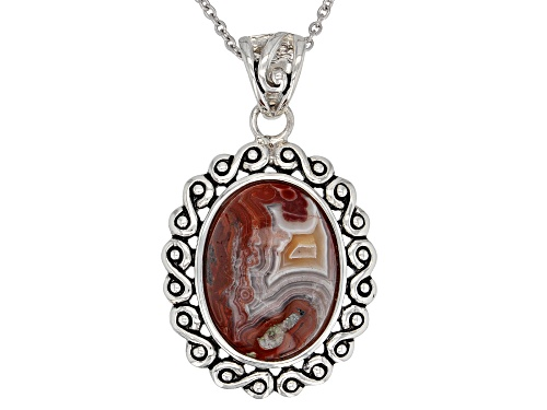 Photo of 20x15mm Oval Agate Rhodium Over Sterling Silver Soliaire Pendant With Chain
