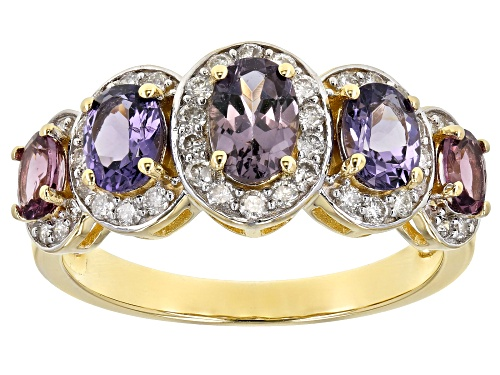 Photo of 1.36ctw 6x4, 5x4 & 4x3mm Oval Mixed-Color Spinel With .35ctw White Diamonds 14k Yellow Gold Ring - Size 8