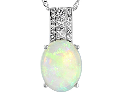 Photo of 1.87ct Oval Australian Opal & .16ctw Round White Zircon Rhodium Over 14k White Gold Pendant W/Chain