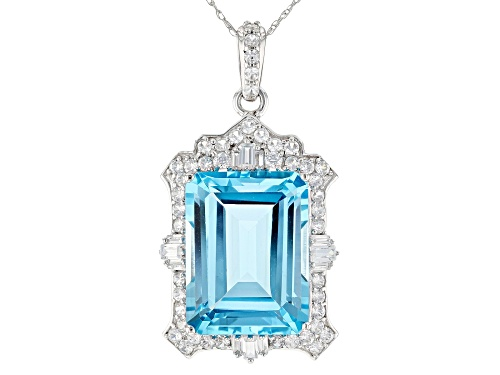 Photo of 12.75ct Glacier Topaz™ & 1.24ctw Mixed White Zircon Rhodium Over 14k White Gold Pendant W/Chain