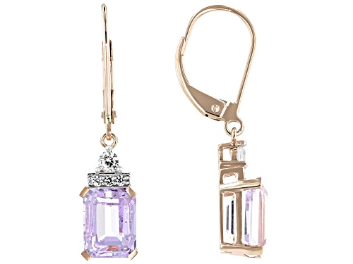 Photo of 3.42ctw Emerald Cut Kunzite With .28ctw Round White Zircon 14k Rose Gold Dangle Earrings