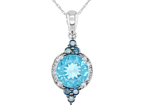 Photo of 1.54ct Apatite, .25ctw Blue Diamonds W/White Accents Rhodium Over 14k White Gold Pendant w/Chain