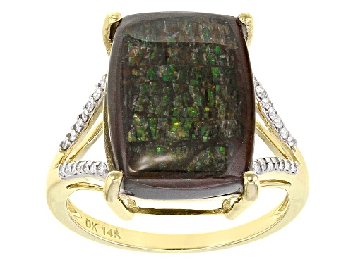 Photo of 16x12mm Cushion Ammolite Doublet With .12ctw Round White Diamonds 14k Yellow Gold Ring - Size 8