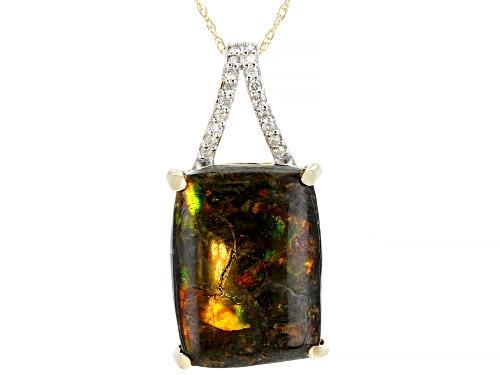 Photo of 16x12mm Cushion Ammolite Doublet With .08ctw Round White Diamond Accent 14k Gold Pendant W/Chain