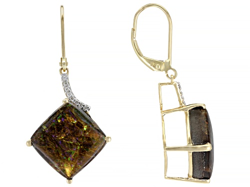 Photo of 12x12mm Square Cushion Ammolite Doublet & .07ctw White Diamond Accent 14k Gold Dangle Earrings