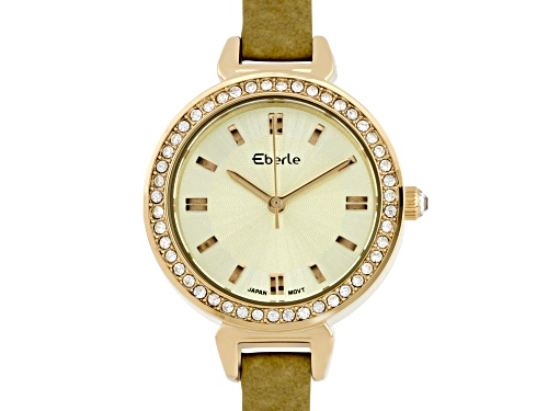 Photo of Eberle Austonian Ladies Watch with Genuine Leather Strap and Ivory Dial