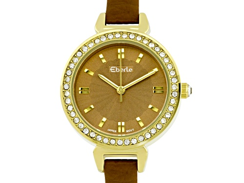 Photo of Eberle Austonian Ladies Watch with Genuine Leather Strap and Cognac Dial