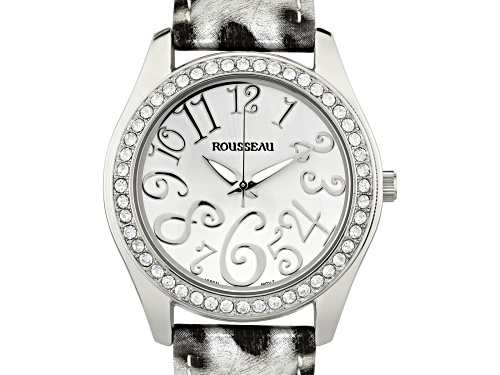 Photo of Rousseau Calame Ladies Watch with Leopard Print Genuine Leather Strap and Silver Dial