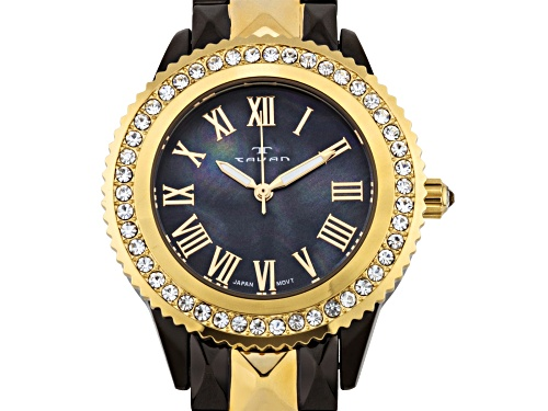 Tavan Charlotte Ladies Watch with Two-Tone Gun Metal/Rose Gold and Black Pearl Dial
