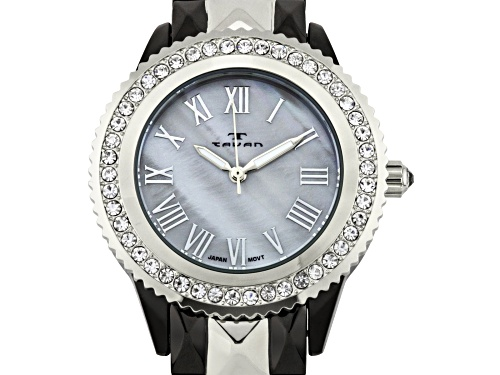 Photo of Tavan Charlotte Ladies Watch with Two-Tone Gun Metal/Silver and Grey Pearl Dial