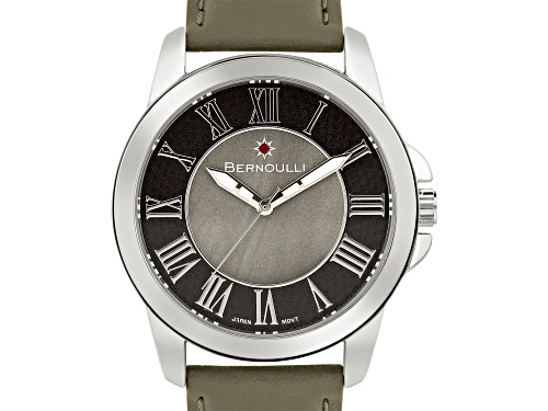 Bernoulli Faun Ladies Watch Genuine Leather Strap Grey Pearl Dial