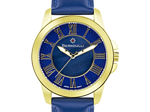 Photo of Bernoulli Faun Ladies Watch Genuine Leather Strap Dark Blue Pearl Dial Center