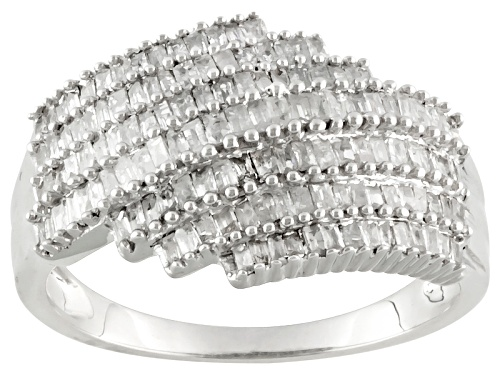 Photo of .88ctw Baguette Diamond Rhodium Over Sterling Silver Ring - Size 5