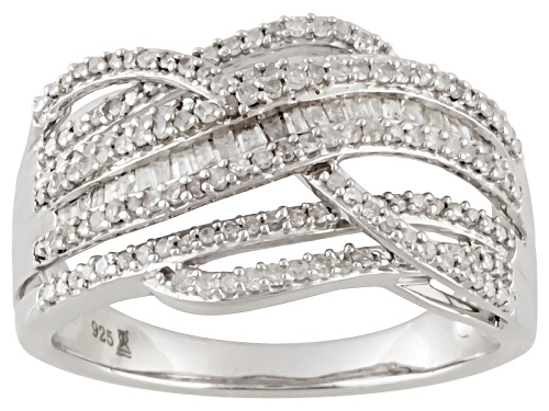 Photo of .50ctw Round & Baguette Diamond Rhodium Over Sterling Silver Ring - Size 7