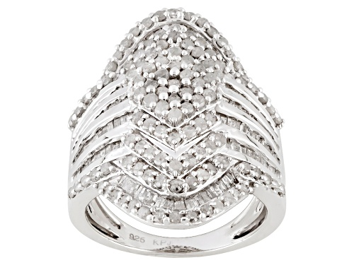 Photo of 2.26ctw Round & Baguette Diamond Rhodium Over Sterling Silver Ring - Size 6
