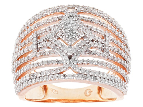 Photo of 1.00ctw Round Diamond 14k Rose Gold Over Sterling Silver Wide Band - Size 6