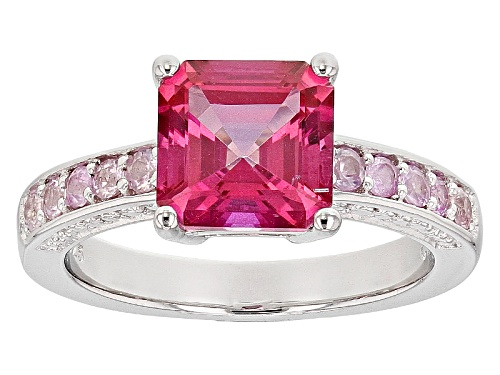 Photo of 1.61ct Asscher Cut Pink Danburite And .34ctw Round Pink Sapphire Sterling Silver Ring - Size 10