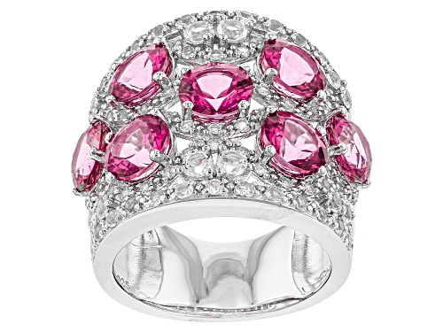 Photo of 5.10ctw Round Pink Danburite And 1.46ctw Round White Topaz Sterling Silver Band Ring - Size 7