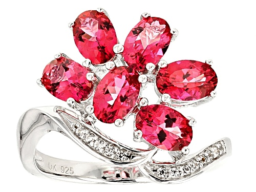 Photo of 2.55ctw Oval Pink Danburite And .06ctw Round White Zircon Sterling Silver Ring - Size 8