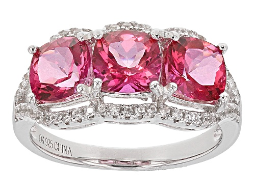Photo of 2.55ctw Square Cushion Pink Danburite And .21ctw Round White Zircon Sterling Silver 3-Stone Ring - Size 12