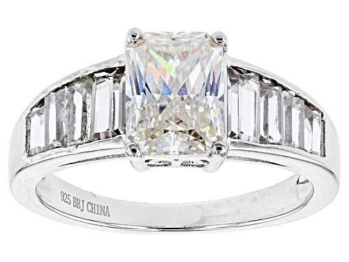 Photo of 2.38ct Emerald Cut Lab Created Strontium Titanate With 1.43ctw White Zircon Silver Ring - Size 12