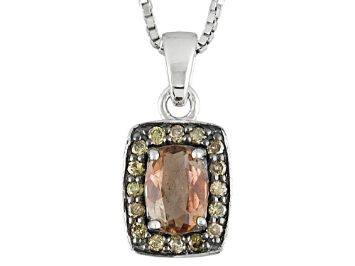 Photo of .49ct Oval Andalusite And .13ctw Round Champagne Diamonds Sterling Silver Pendant With Chain