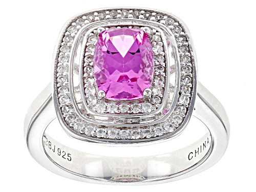 Photo of 1.59ct Rectangular Cushion Lab Created Pink Sapphire With .43ctw Round White Zircon Silver Ring - Size 7