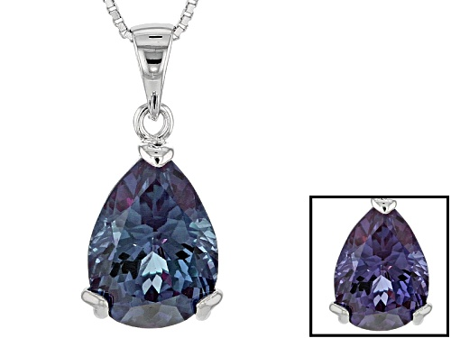 Photo of 6.46ct Pear Shape Lab Created Color Change Purple Sapphire Sterling Silver Pendant With Chain