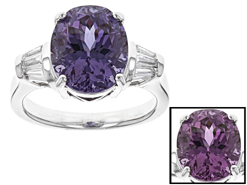Photo of 6.03ct Oval Lab Created Color Change Purple And .24ctw Lab Created White Sapphire Silver Ring - Size 12