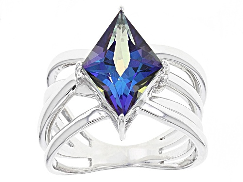 Photo of 3.75ct Lozenge Shape Odyssey Blue™ Odyssey® Mystic Quartz® Sterling Silver Solitaire Ring - Size 12