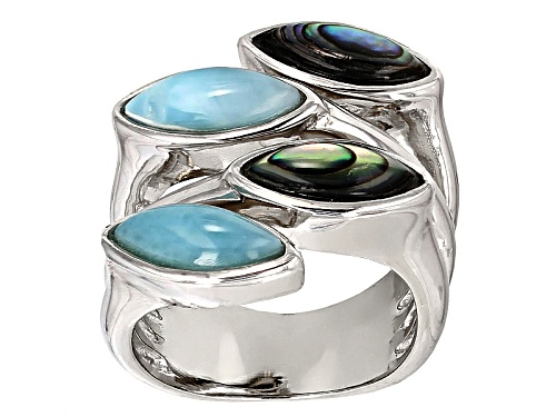 Photo of 10x4mm Cabochon Marquise Larimar And Abalone Shell Sterling Silver Bypass Ring - Size 6