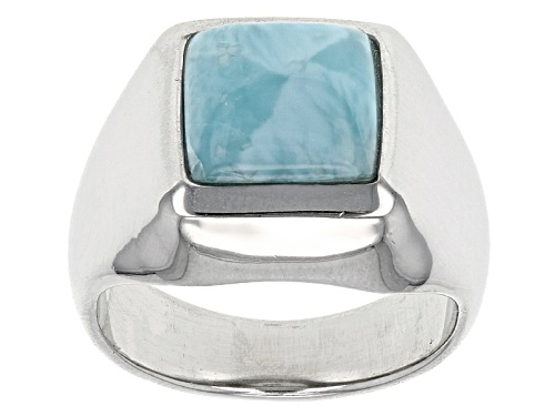 Photo of 8mm Square Cabochon Larimar Sterling Silver Solitaire Ring - Size 6