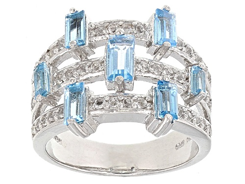 Photo of 1.20ctw Baguette Swiss Blue Topaz And .40ctw Round White Topaz Sterling Silver Ring - Size 8